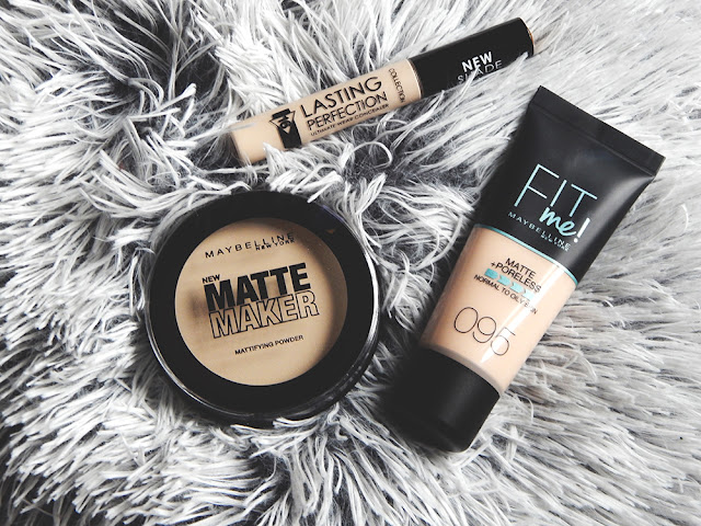 My Everyday Makeup || February 2019 - Maybelline Fit Me! Matte + Poreless foundation, Maybelline Matte Maker Setting powder, and Collection Lasting perfection concealer
