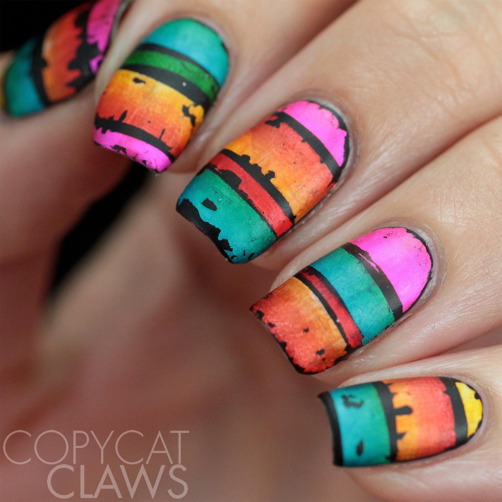 Copycat claws nail crazies unite stripes - Foil nail art ...