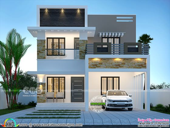 A Modern house rendering in night view