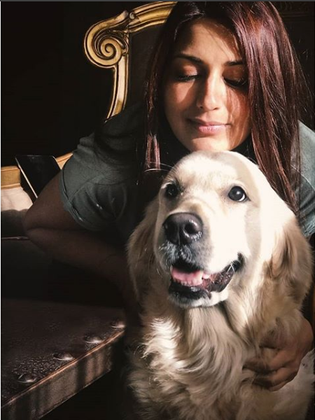 Sonali Bendre  with her Dog