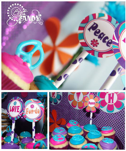 peace party food ideas, peace party cupcakes, chocolate peace signs