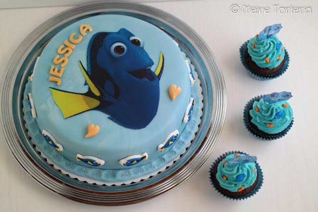 """Motivtorte und Cupcakes """"Findet Dorie"""""""