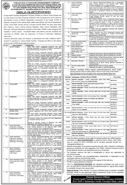 Punjab Health Facilities Management Company (PHFMC) Jobs 2019