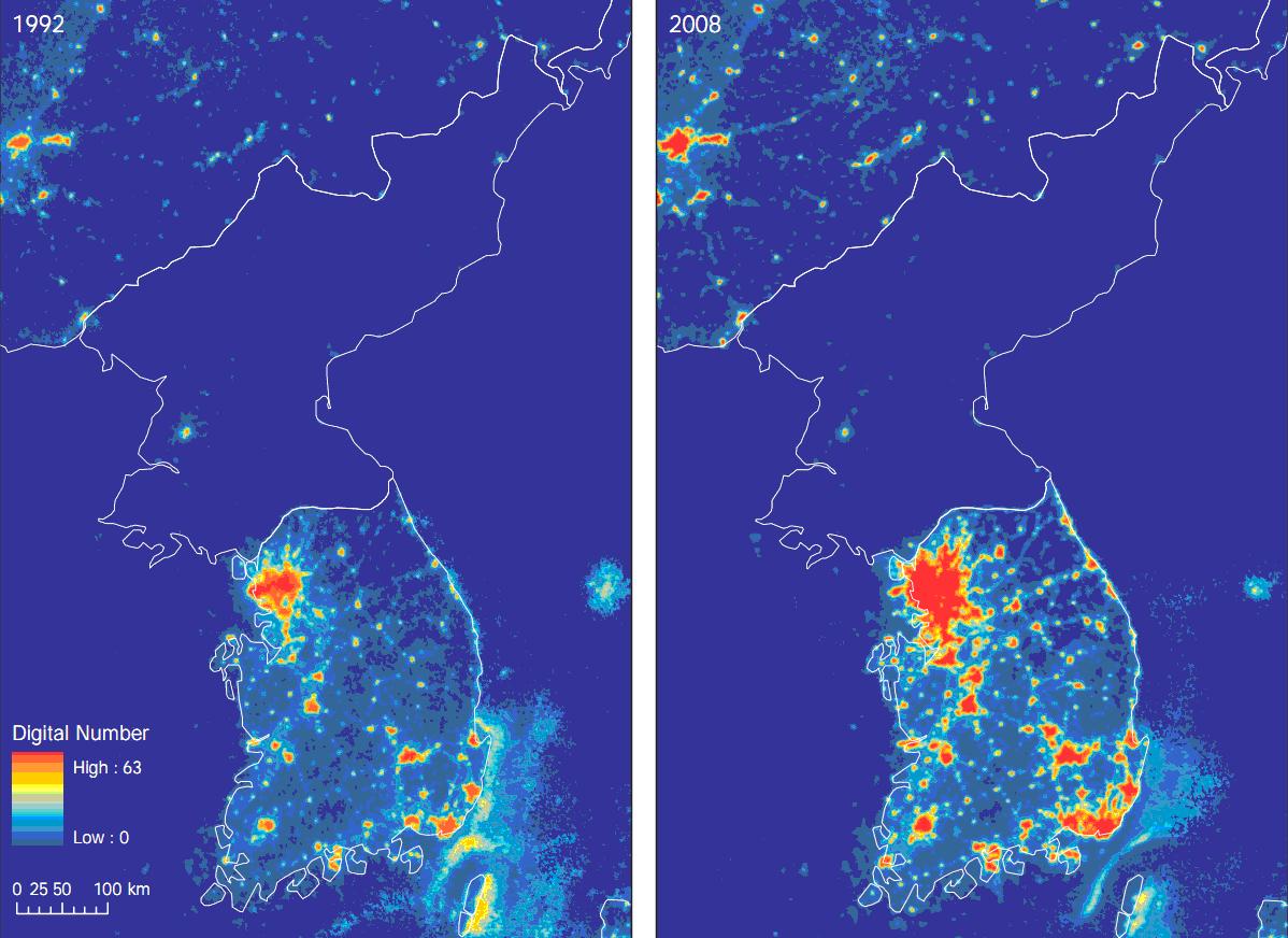 Corea iluminación artificial mapa 1992 2008