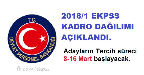 DPB, 2018/1 EKPSS kadro dağılımını açıkladı