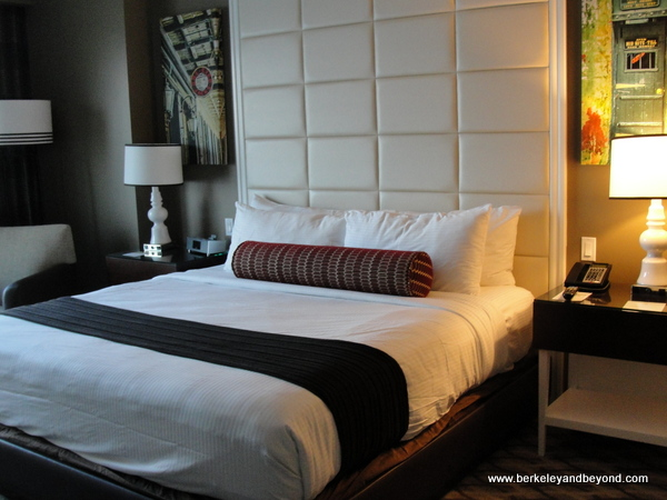 guest room bed in Golden Nugget casino-hotel in Lake Charles, Louisiana