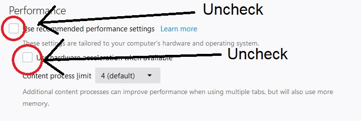 Uncheck Performance options from Firefox