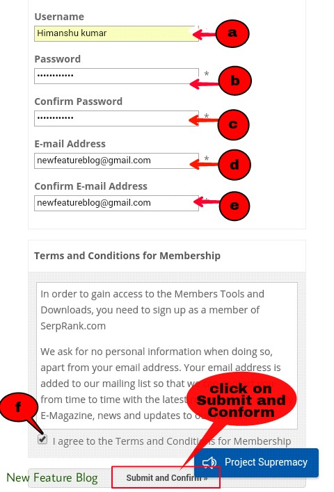 newfeatureblog.com  privacy policy register with serprank.com