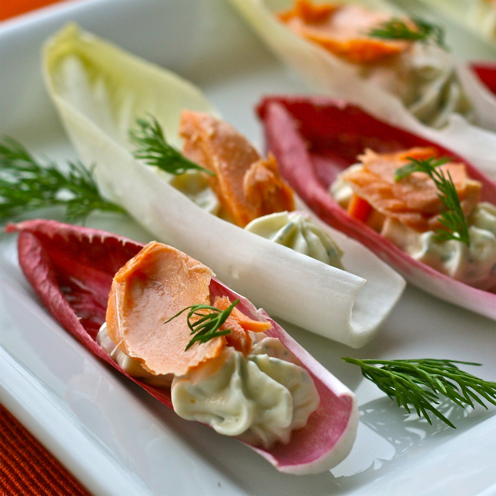N is for: Neufchâtel and Smoked Salmon Endive Boats