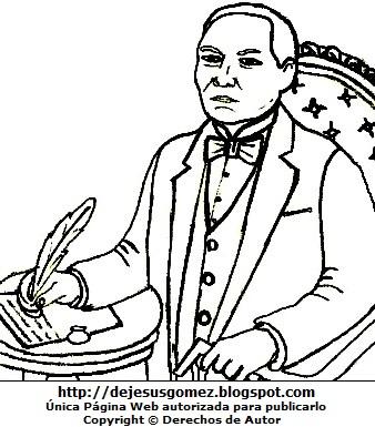 Dibujo Benito Juárez para colorear pintar imprimir. Dibujo de Benito Juárez de Jesus Gómez
