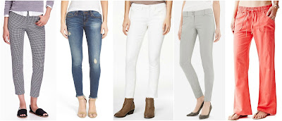 Old Navy Printed Mid-Rise Pixie Ankle Pants $26 (reg $35) see my friend Taylor wearing them here SP Black Distressed Raw Hem Skinny Jeans $32 (reg $54) American Rag White Skinny Jeans $35 (reg $60) The Limited Exact Stretch Skinny Pants $42 (reg $70) Guess Linen Cargo Pants $47 (reg $79)