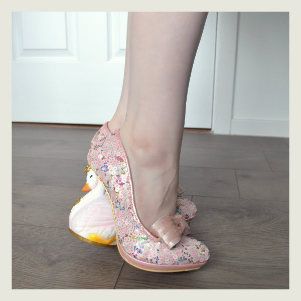wearing irregular choice pink savan swan heels