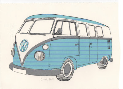 Screenprint Collage of Volkswagen T1 Split Screen Camper Van Micro Bus
