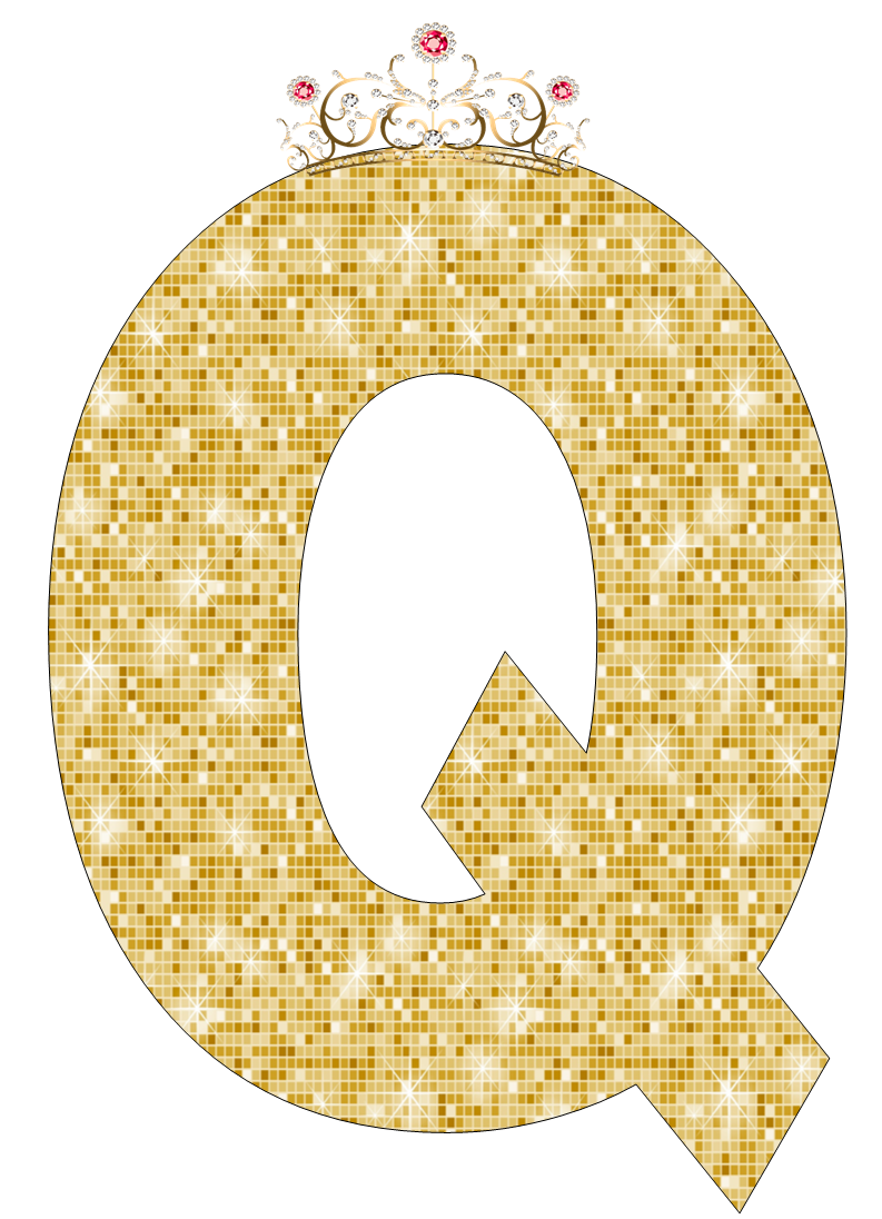 Abecedario de Corona con Fondo Dorado. Alphabet of Crown with Golden Background.