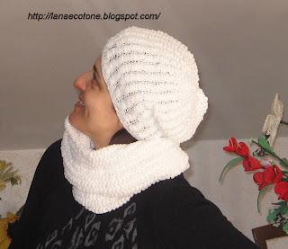 Lana e Cotone (maglia e uncinetto)  Cappello e sciarpa con lana pon-pon f6a052572863