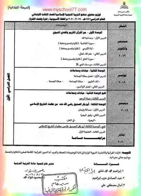 توزيع منهج التربية الاسلامية للصف الثالث الابتدائى ترم اول 2020- موقع مدرستى