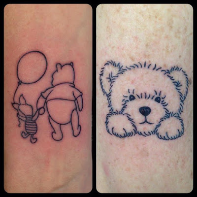 cute bear tattoo with balloon