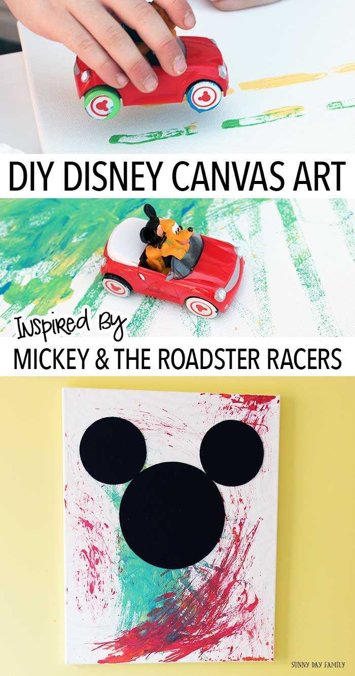 Let kids create their own Disney wall art with this fun project inspired by Mickey and the Roadster Racers! Zoom your cars all over a canvas to create a unique masterpiece - then add Mickey Mouse. Disney Junior fans will love this kids painting activity. Makes a great gift for Disney fans too! AD