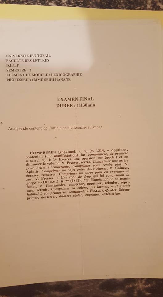 examen de lexicologie s2
