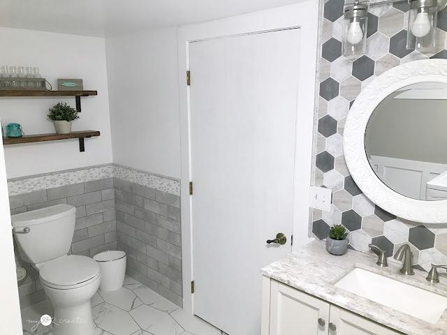 Bathroom/Laundry Room Reveal, One Room Challenge Week 6, MyLove2Create