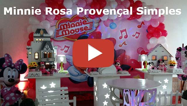Vídeo decoração provençal simples tema da Minnie Rosa