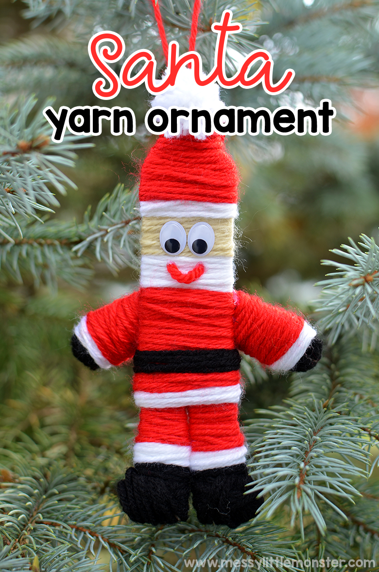 Yarn Christmas ornaments. Santa craft. Christmas crafts for kids.