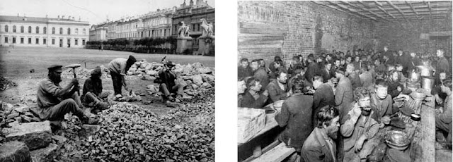 Left: 1900s. Right: Lunch in the kitchen for the poor, 1910