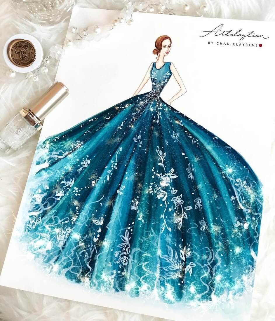15-Turquoise-Fantasy-Clayrene-Chan-Drawings-of-Lavish-Flowing-Dress-Designs-www-designstack-co