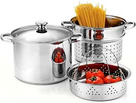 Cook N Home 4-Piece 8 Quart Pasta Cooker