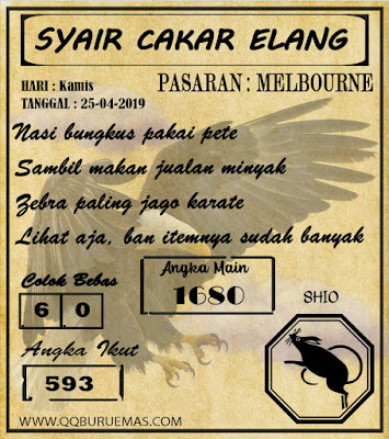 Syair MELBOURNE,25-04-2019