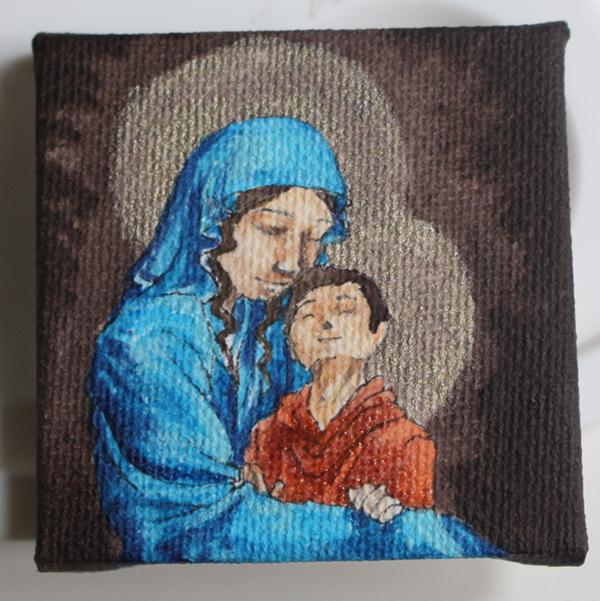 WIP peinture vierge à l'enfant miniature - Jésus