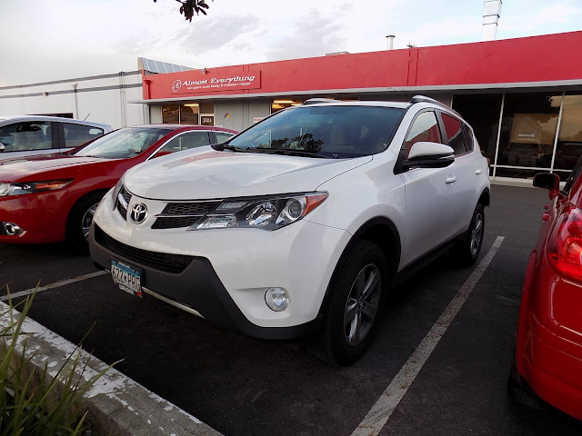 2015 Toyota RAV4 arriving for collision repairs at Almost Everything Auto Body.