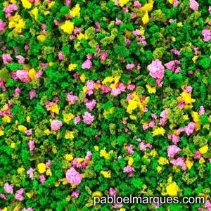 J-05 Jardín verde medio con flores amarillas y rosas