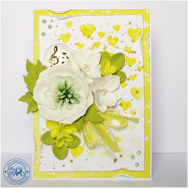 kolor żółty – kwiaty – tło z wykrojnika / DT Craft Passion