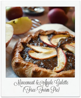 This charmingly rustic galette (also known as a free-form pie) makes great use of left over sweet mincemeat.  The mixture is bulked out with apple which contains no additional sugar.