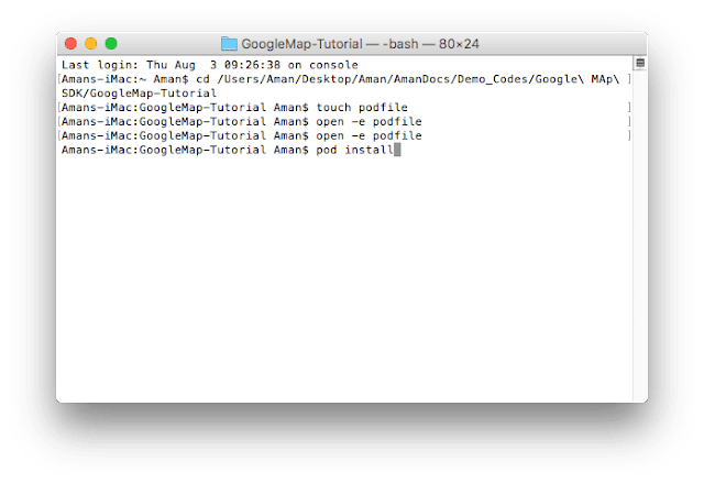"Installing pods using command ""pod install"""