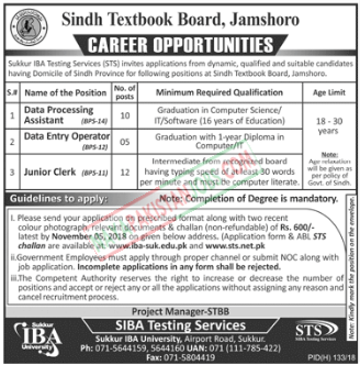 Latest Vacancies Announced in stbb.edu.pk Sindh Textbook Board STBB 19 October 2018 - Naya Pakistan