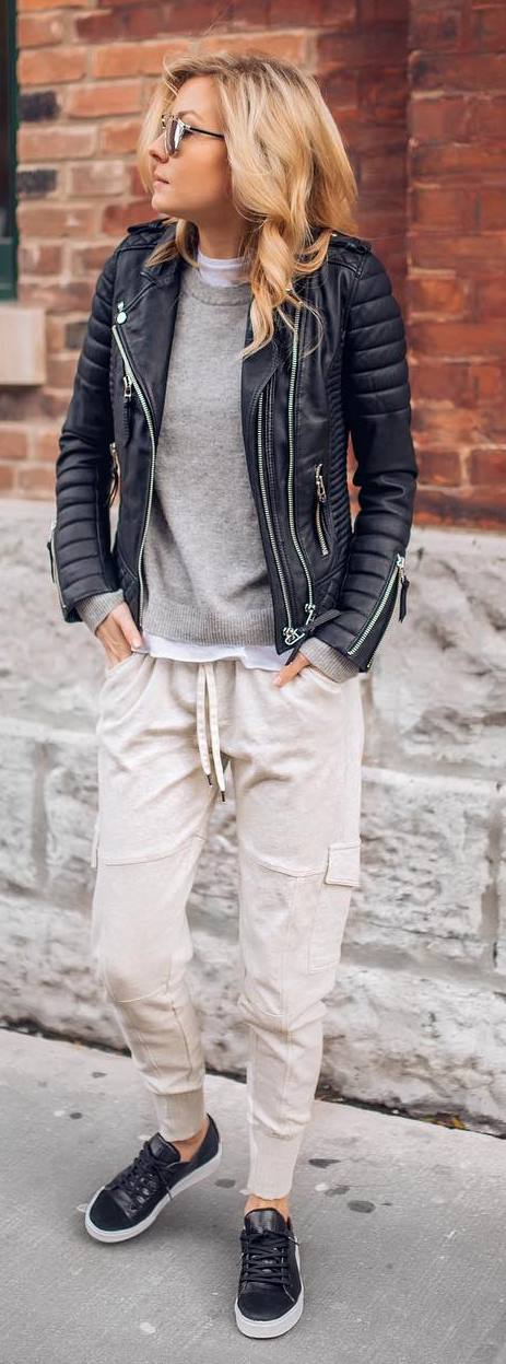 Casual style outfit idea: leather jacket + top