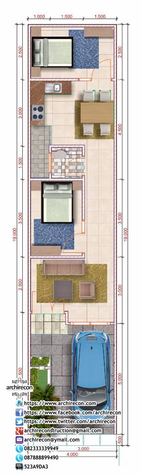 Desain Rumah Sempit Memanjang - Koleksi Rumah