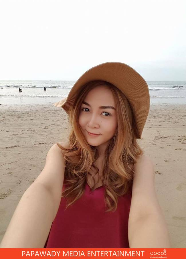 Wine Su Khine Thein Vacation Trip To Chaung Tha and Shows Off Her New Samsung S7 Edge Phone
