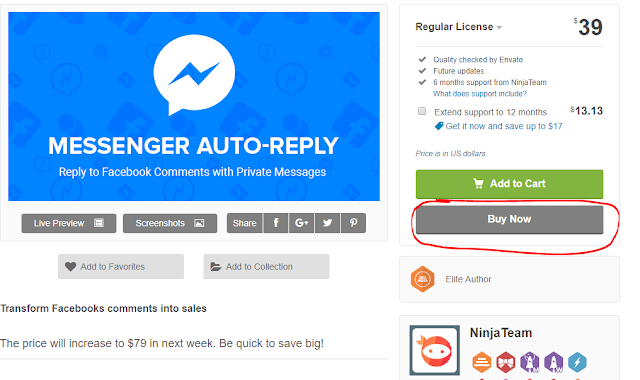 Install and use facebook messenger auto-reply