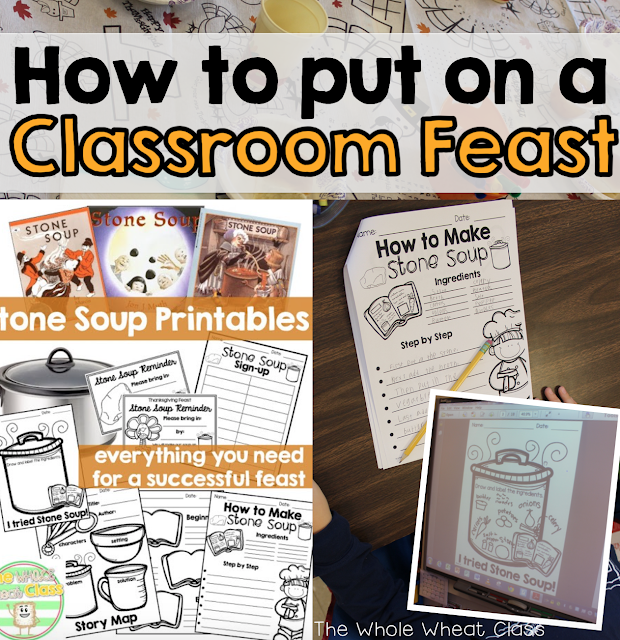 Tips and printables for putting on a classroom feast and Stone Soup book study.