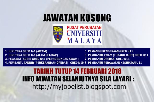 Jawatan Kosong Pusat Perubatan Universiti Malaya (PPUM) Februari 2018