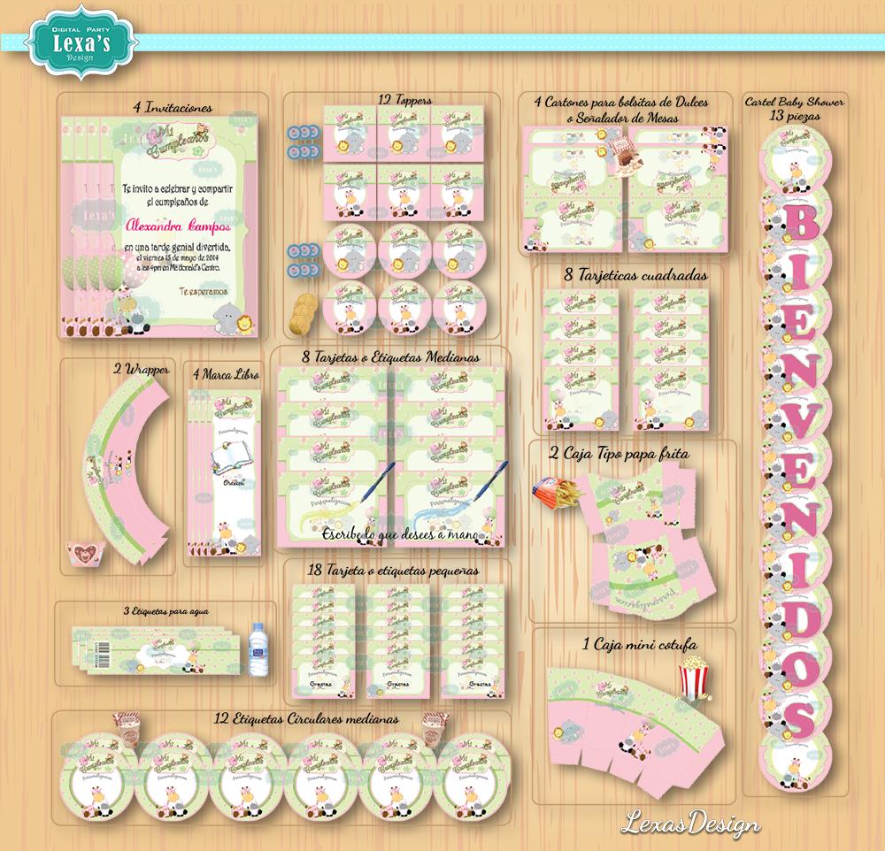 Kit imprimibles para fiestas Safari Niñas gratis