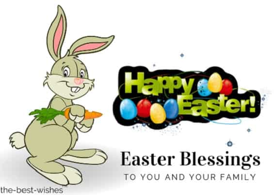 easter blessings card with bunny