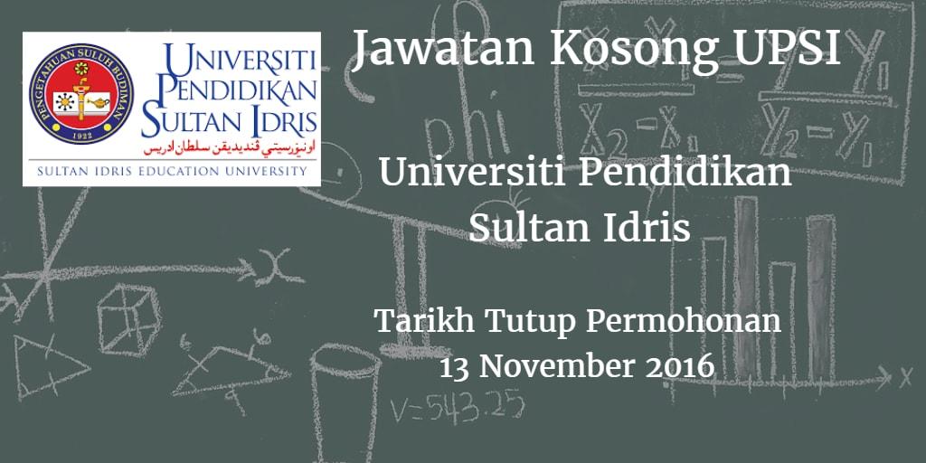 Jawatan Kosong UPSI 13 November 2016