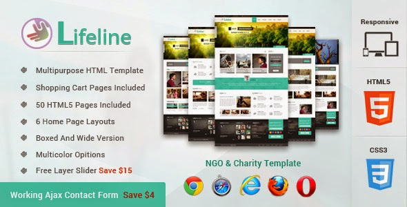 Themeforest - Lifeline NGO and Charity Responsive HTML Template