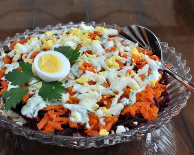 Finnish Rosolli Salad ♥ AVeggieVenture.com, a rainbow of grated beet, carrot and potato traditional at Christmas in Finland but somehow perfect for Easter too. LowCarb. Paleo. Gluten Free. Whole30.