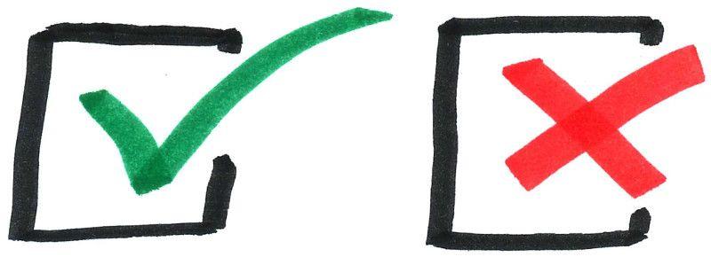 Dibujo a mano alzada de dos casillas de verificación
