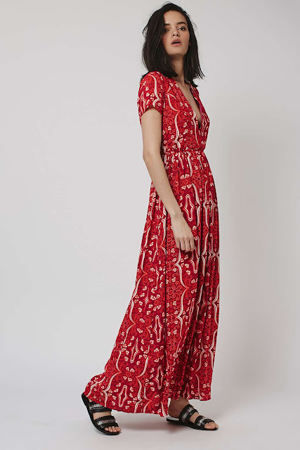 glamorous red maxi dress, plunge neck red maxi dress,
